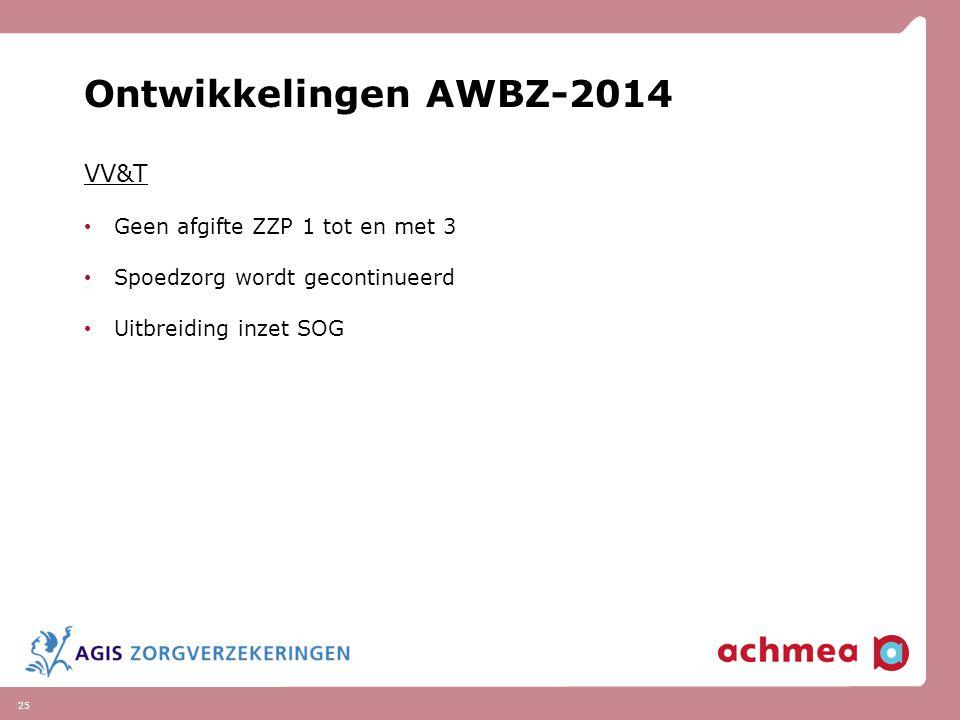 Ontwikkelingen AWBZ-2014 VV&T Geen afgifte ZZP 1 tot en met 3
