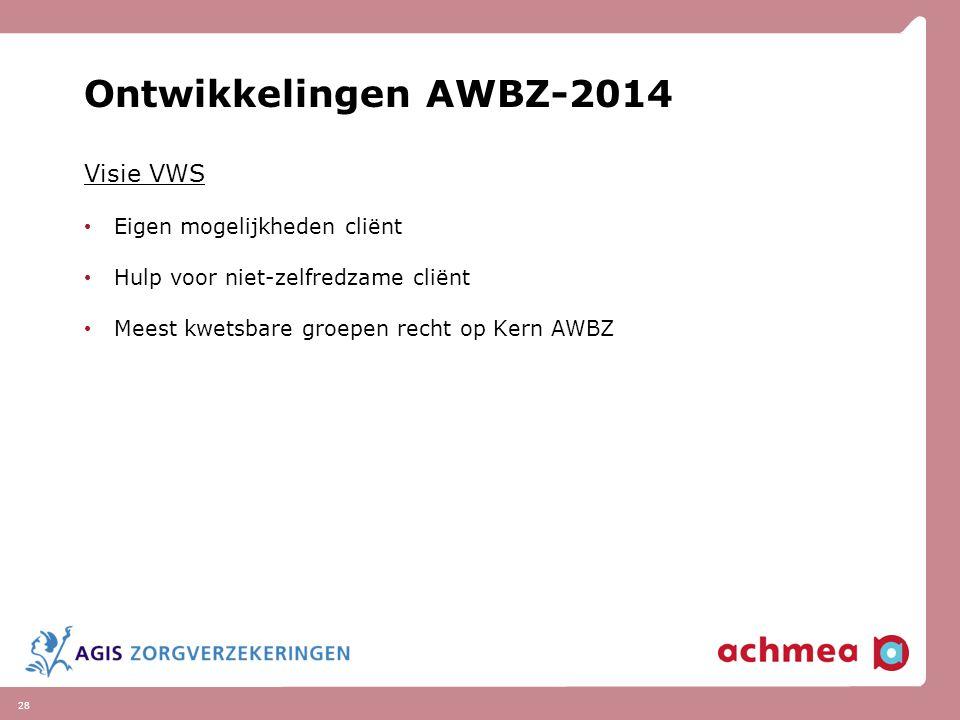 Ontwikkelingen AWBZ-2014 Visie VWS Eigen mogelijkheden cliënt