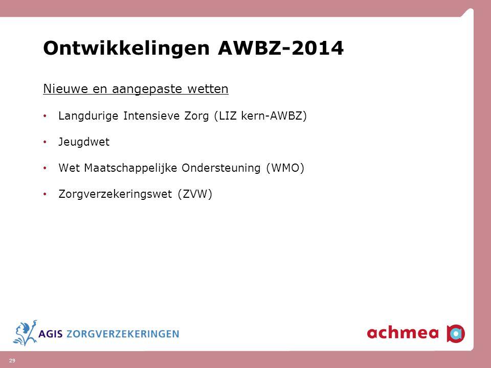 Ontwikkelingen AWBZ-2014 Nieuwe en aangepaste wetten