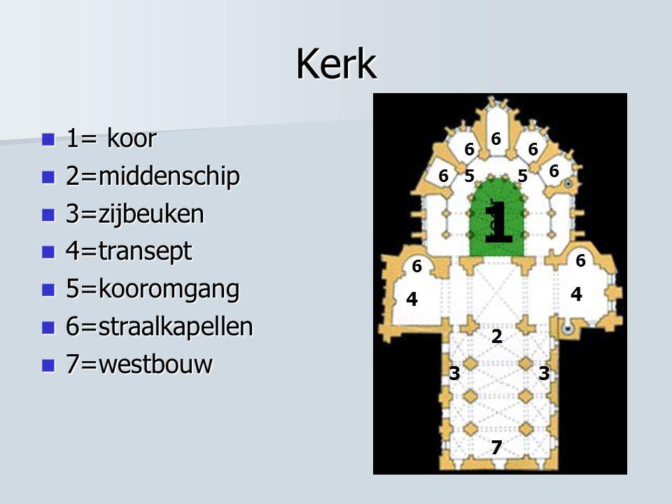 1 Kerk 1= koor 2=middenschip 3=zijbeuken 4=transept 5=kooromgang