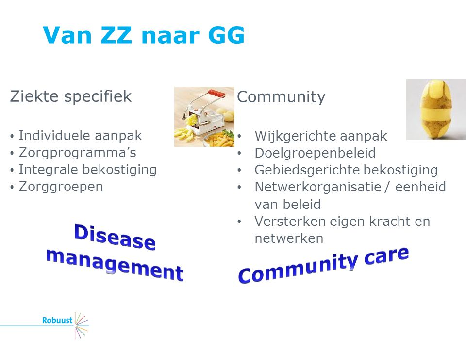 Van ZZ naar GG Disease management Community care Ziekte specifiek