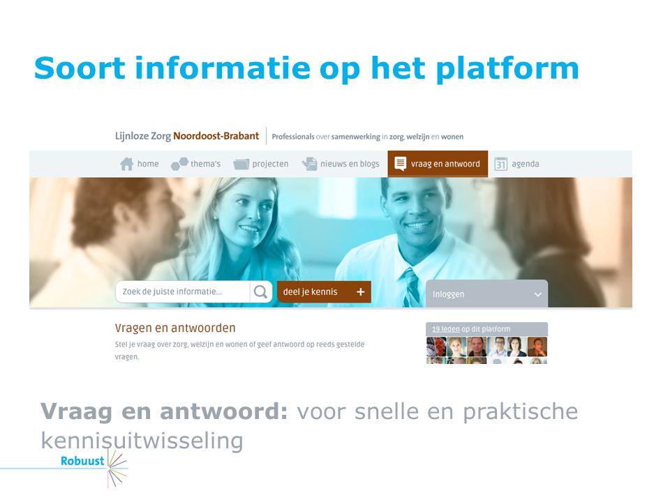 Soort informatie op het platform