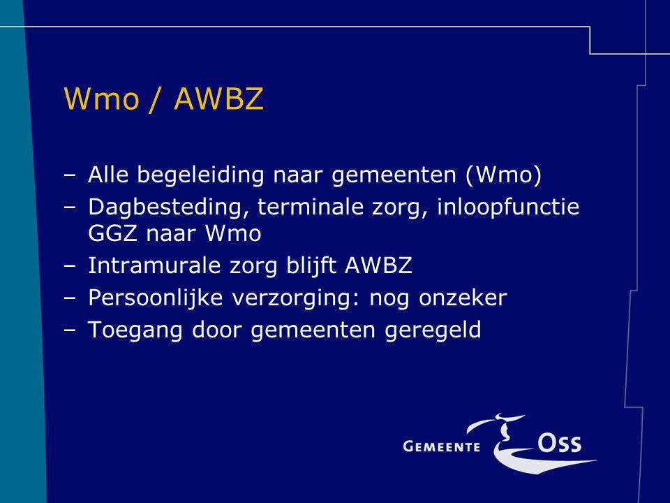 Wmo / AWBZ Alle begeleiding naar gemeenten (Wmo)