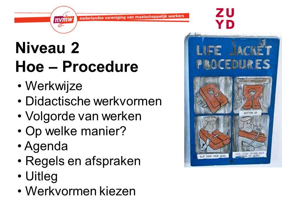 Niveau 2 Hoe – Procedure Werkwijze Didactische werkvormen