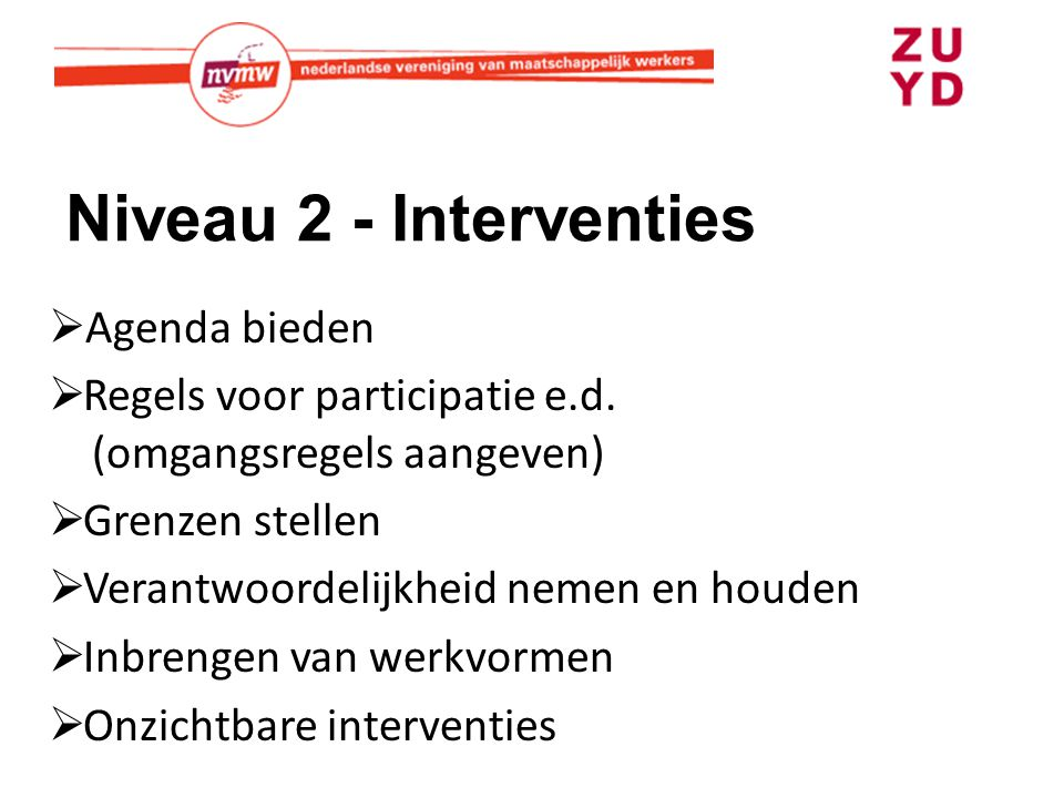 Niveau 2 - Interventies Agenda bieden