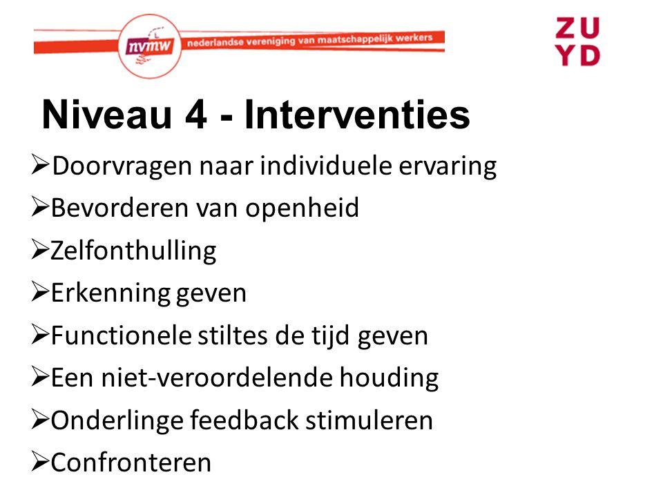 Niveau 4 - Interventies Doorvragen naar individuele ervaring