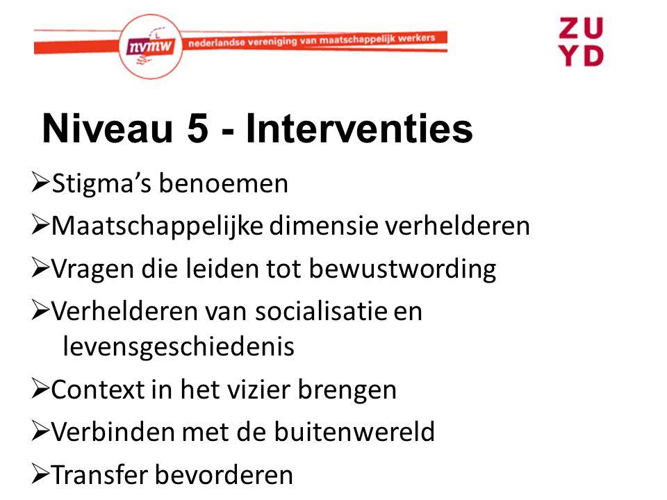Niveau 5 - Interventies Stigma's benoemen