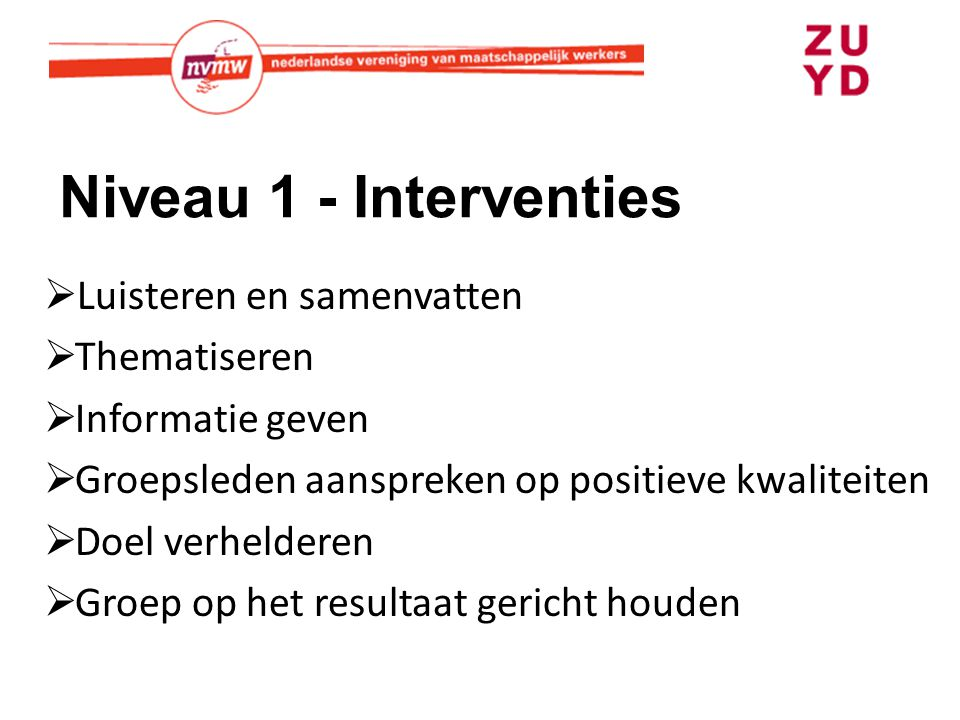 Niveau 1 - Interventies Luisteren en samenvatten Thematiseren