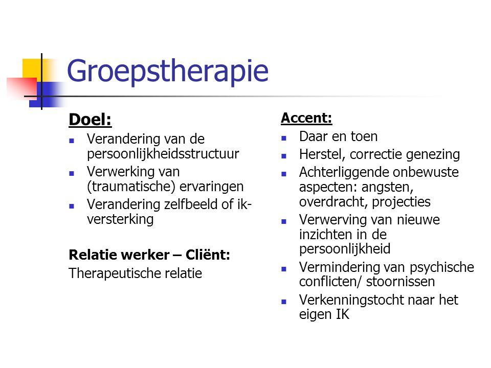 Groepstherapie Doel: Accent: