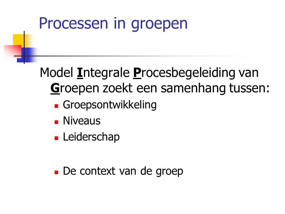Processen in groepen Model Integrale Procesbegeleiding van Groepen zoekt een samenhang tussen: Groepsontwikkeling.