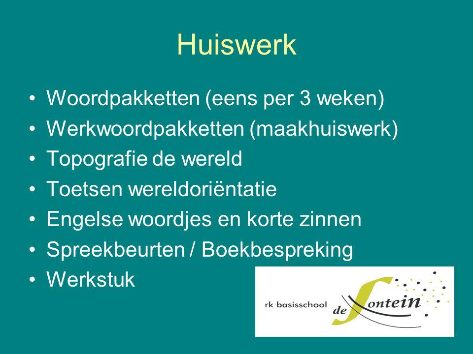 Huiswerk Woordpakketten (eens per 3 weken)