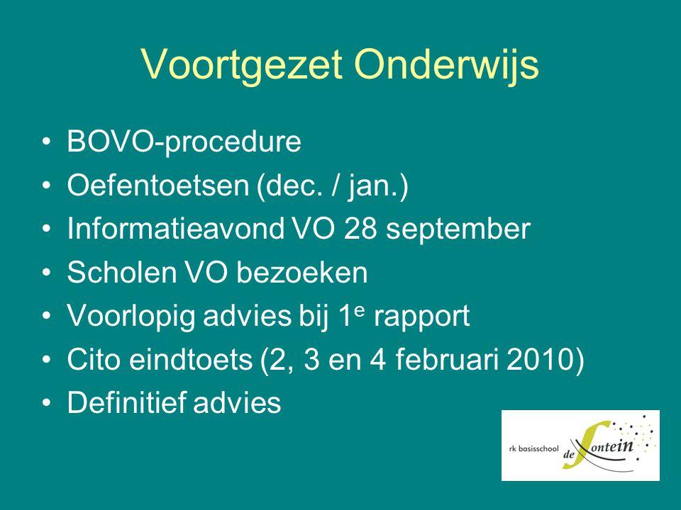 Voortgezet Onderwijs BOVO-procedure Oefentoetsen (dec. / jan.)
