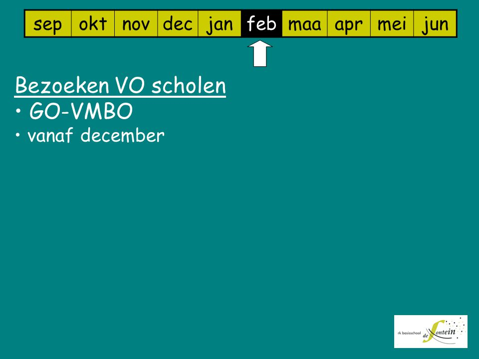 Bezoeken VO scholen GO-VMBO sep okt nov dec jan feb maa apr mei jun