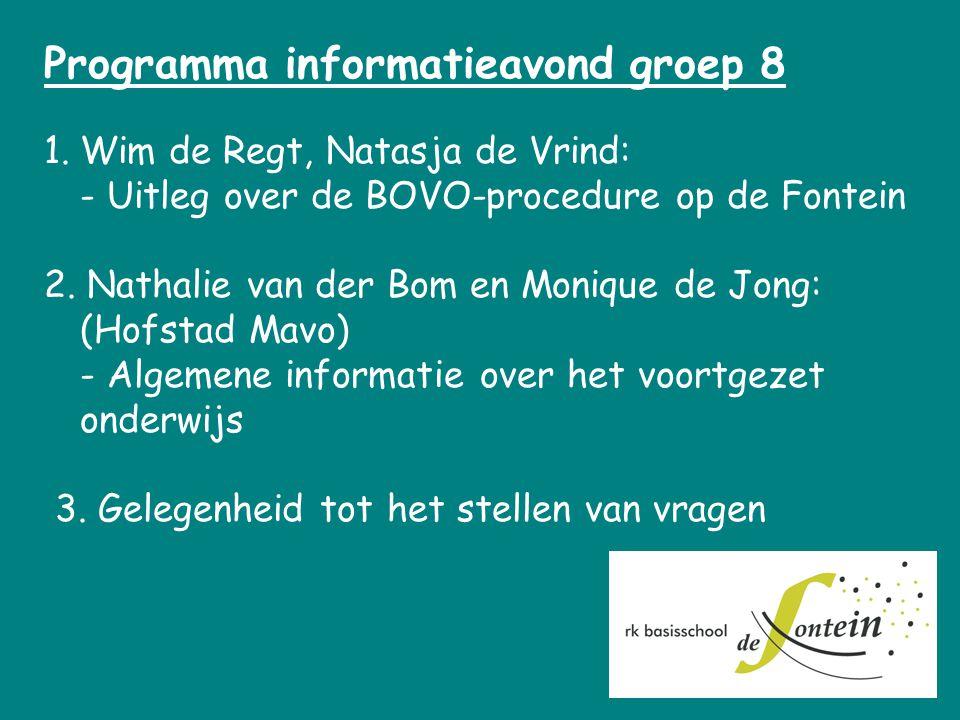 Programma informatieavond groep 8