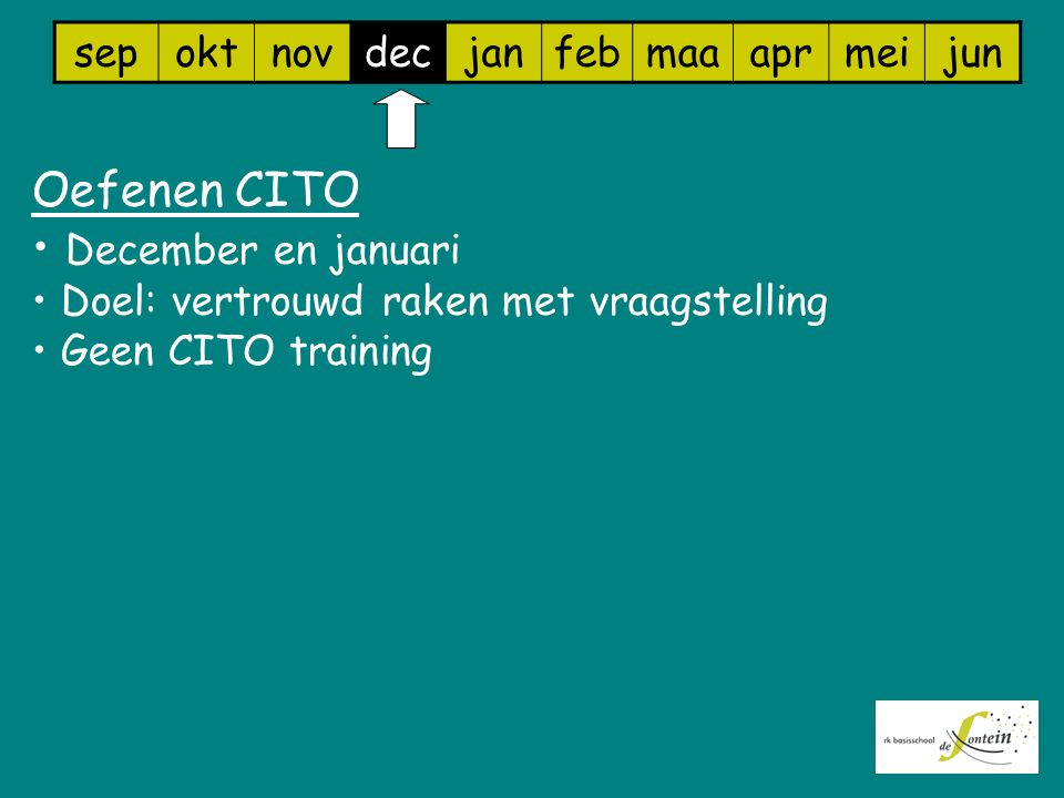 Oefenen CITO December en januari sep okt nov dec jan feb maa apr mei