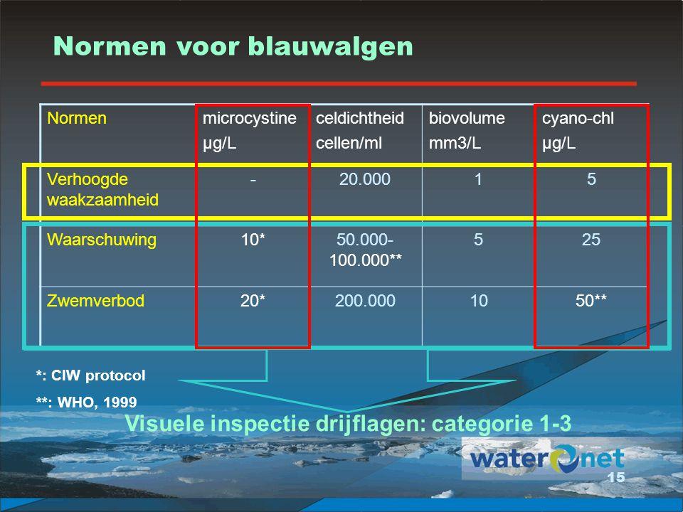 Visuele inspectie drijflagen: categorie 1-3