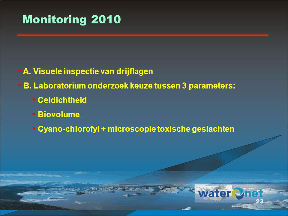 Monitoring 2010 A. Visuele inspectie van drijflagen