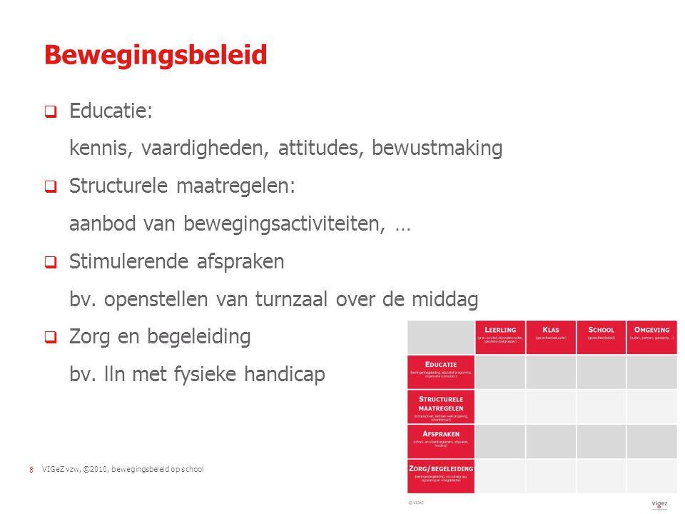 Bewegingsbeleid Educatie: kennis, vaardigheden, attitudes, bewustmaking. Structurele maatregelen: aanbod van bewegingsactiviteiten, …