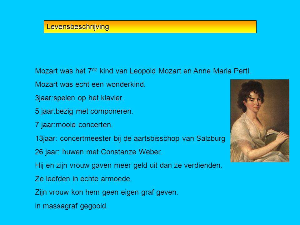 Levensbeschrijving Mozart was het 7de kind van Leopold Mozart en Anne Maria Pertl. Mozart was echt een wonderkind.