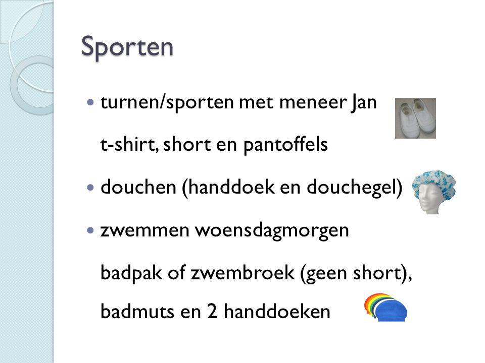Sporten turnen/sporten met meneer Jan t-shirt, short en pantoffels