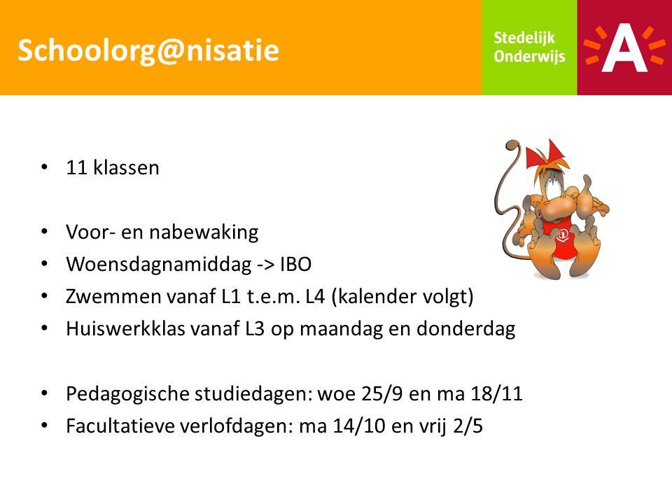 Schoolorg@nisatie 11 klassen Voor- en nabewaking