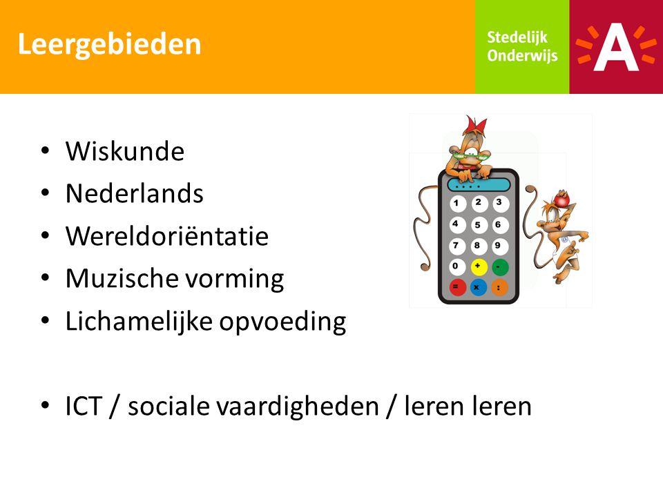 Leergebieden Wiskunde Nederlands Wereldoriëntatie Muzische vorming