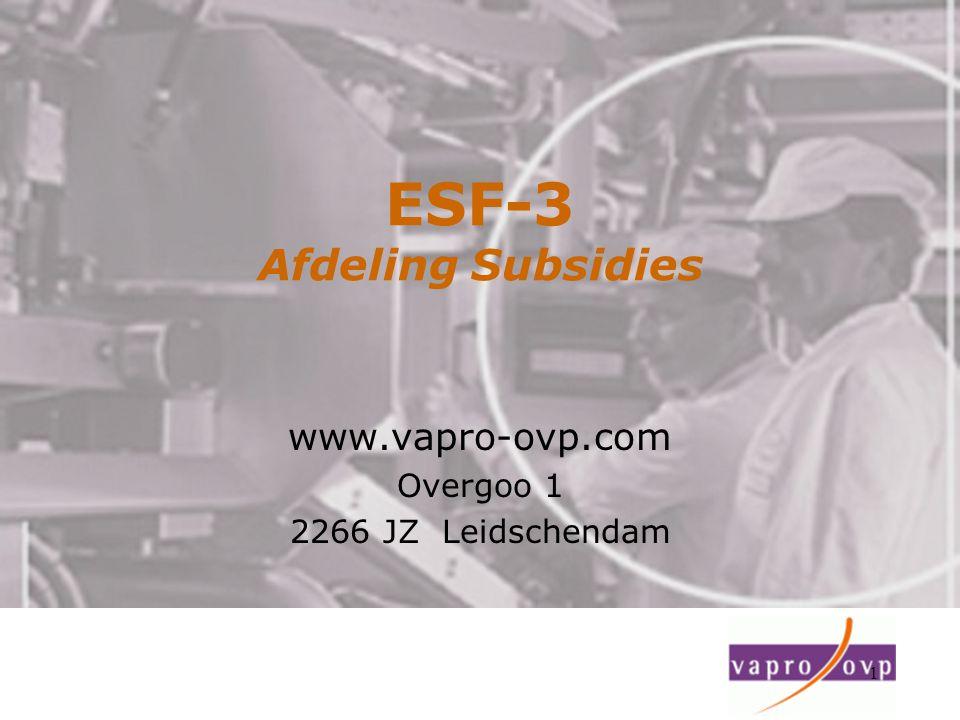 ESF-3 Afdeling Subsidies