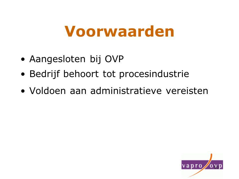 Voorwaarden Aangesloten bij OVP Bedrijf behoort tot procesindustrie