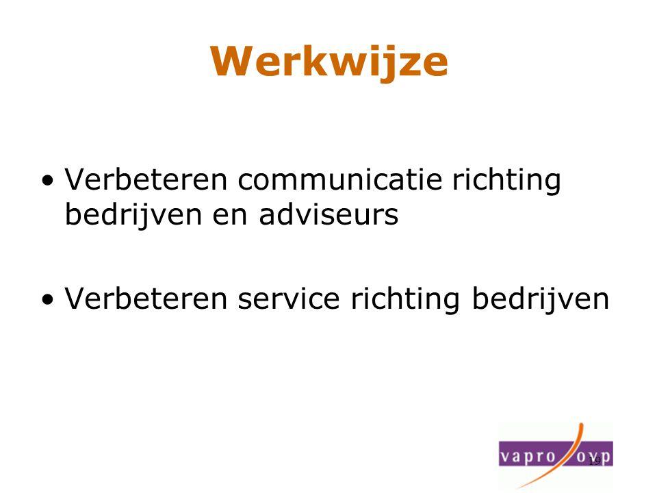 Werkwijze Verbeteren communicatie richting bedrijven en adviseurs