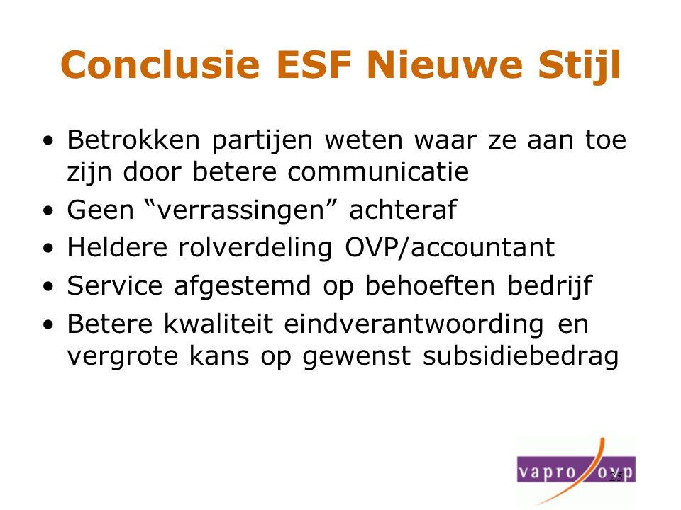 Conclusie ESF Nieuwe Stijl