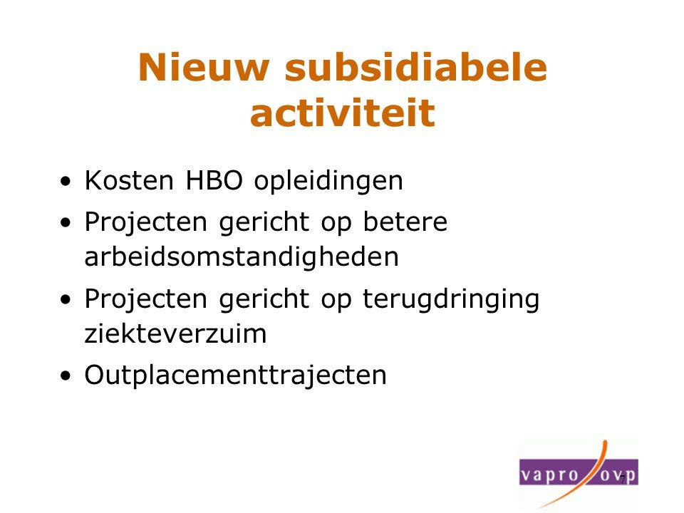 Nieuw subsidiabele activiteit