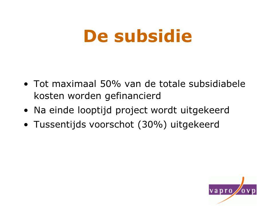 De subsidie Tot maximaal 50% van de totale subsidiabele kosten worden gefinancierd. Na einde looptijd project wordt uitgekeerd.