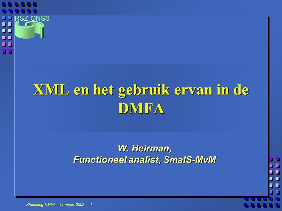 XML en het gebruik ervan in de DMFA