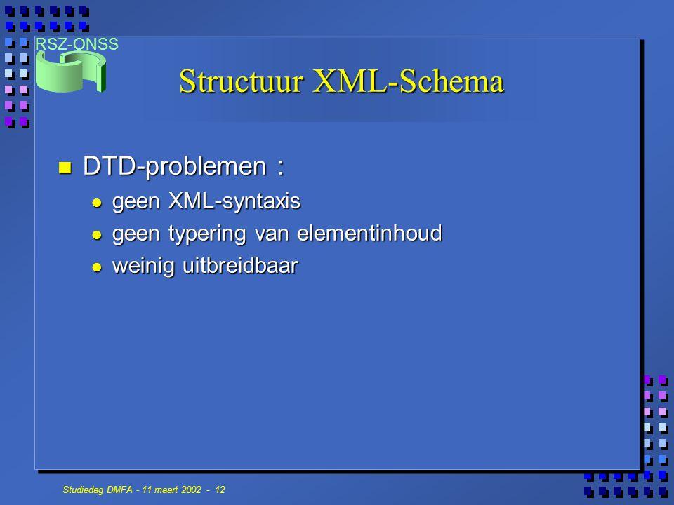Structuur XML-Schema DTD-problemen : geen XML-syntaxis