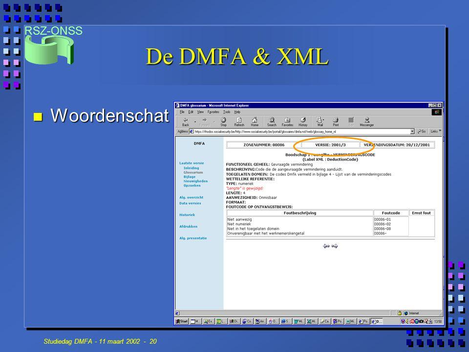 De DMFA & XML Woordenschat