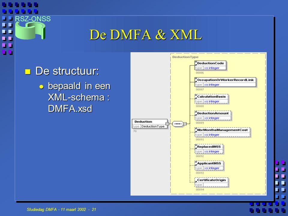 De DMFA & XML De structuur: bepaald in een XML-schema : DMFA.xsd