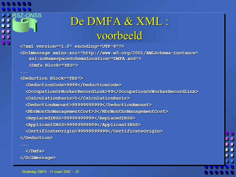 De DMFA & XML : voorbeeld