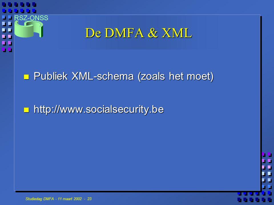 De DMFA & XML Publiek XML-schema (zoals het moet)