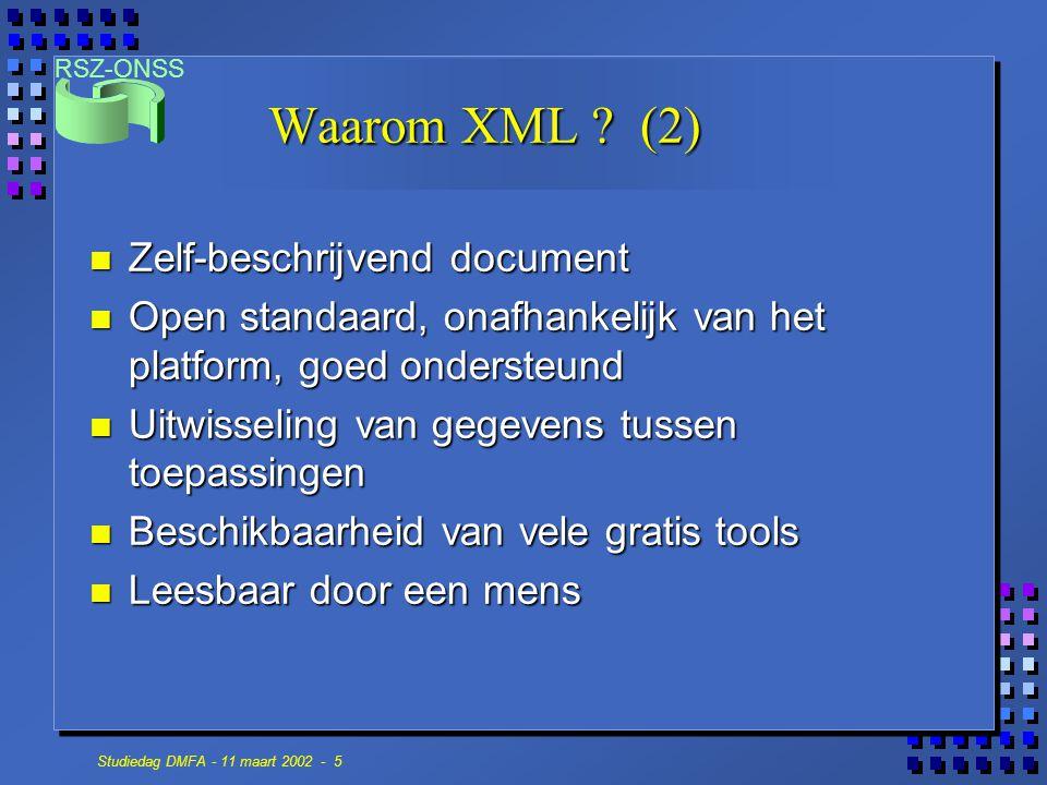Waarom XML (2) Zelf-beschrijvend document