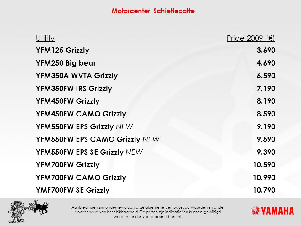 Utility Price 2009 (€) YFM125 Grizzly. 3.690. YFM250 Big bear. 4.690. YFM350A WVTA Grizzly. 6.590.