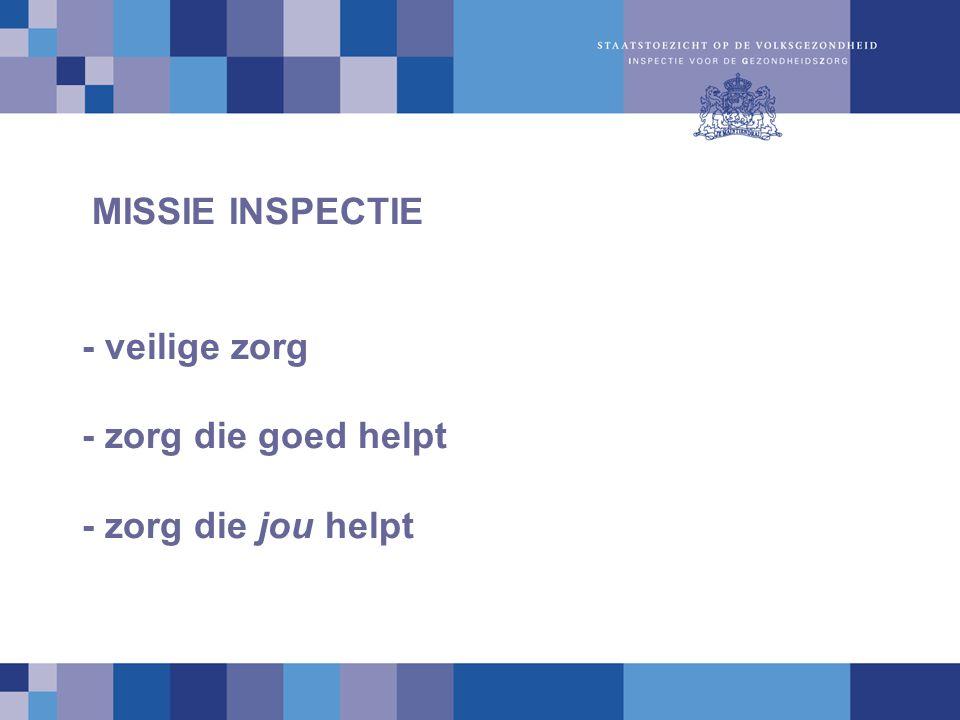 MISSIE INSPECTIE - veilige zorg - zorg die goed helpt - zorg die jou helpt