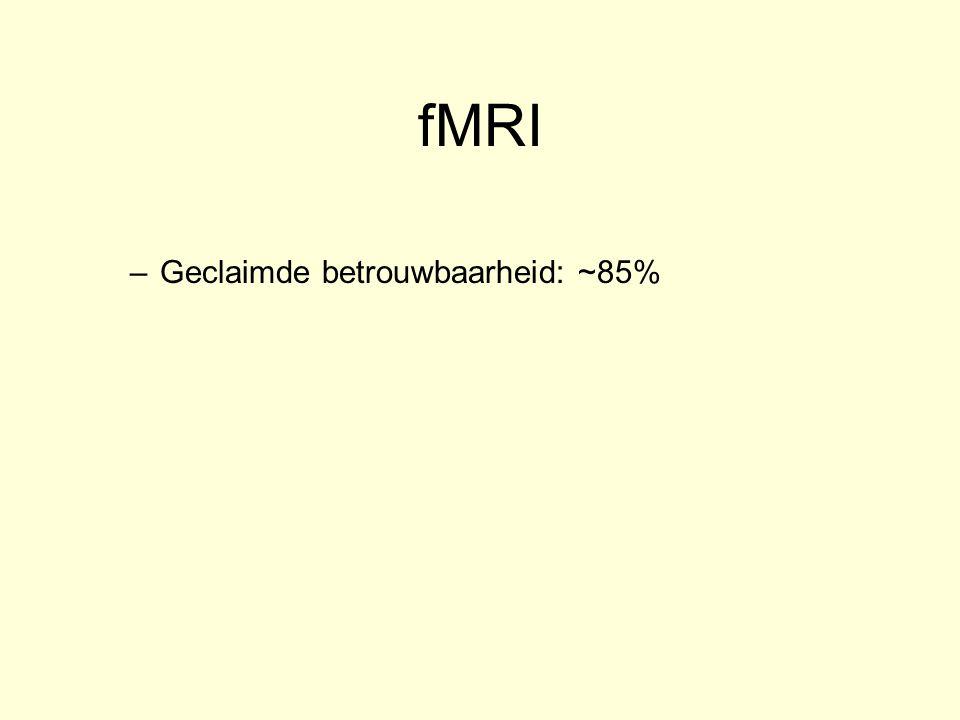 fMRI Geclaimde betrouwbaarheid: ~85%