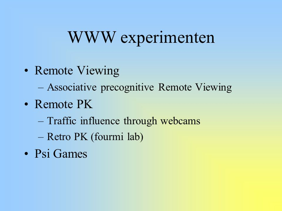 WWW experimenten Remote Viewing Remote PK Psi Games