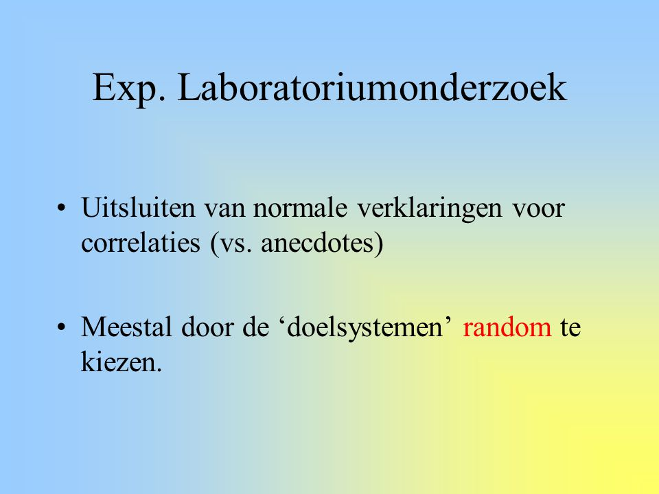 Exp. Laboratoriumonderzoek
