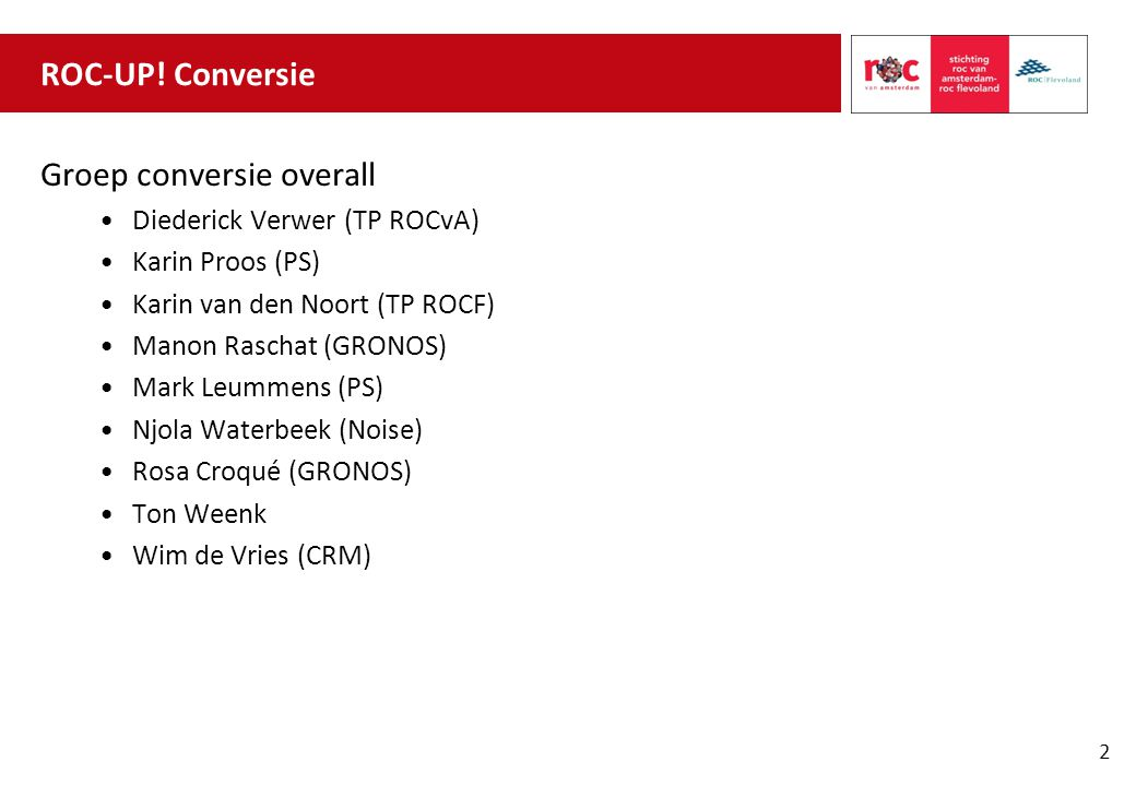 Groep conversie overall