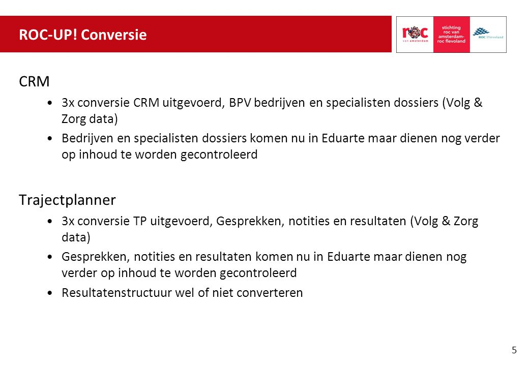 ROC-UP! Conversie CRM Trajectplanner