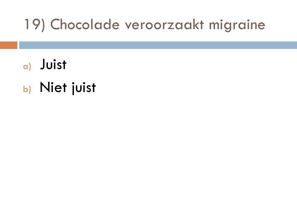19) Chocolade veroorzaakt migraine