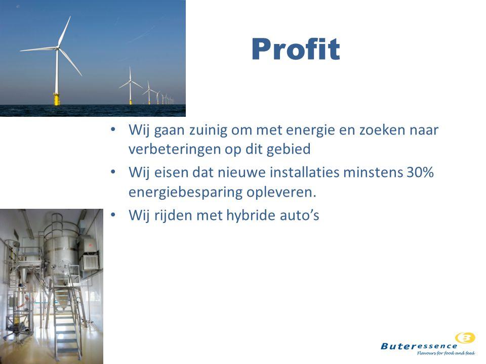 Profit Wij gaan zuinig om met energie en zoeken naar verbeteringen op dit gebied.