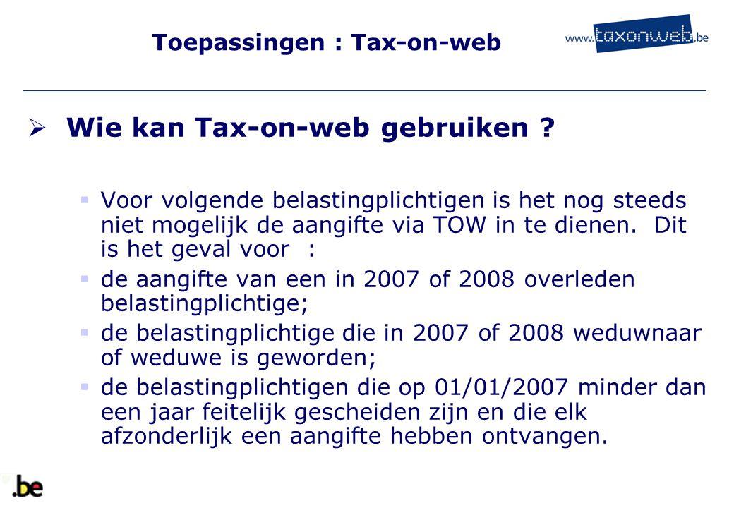Toepassingen : Tax-on-web