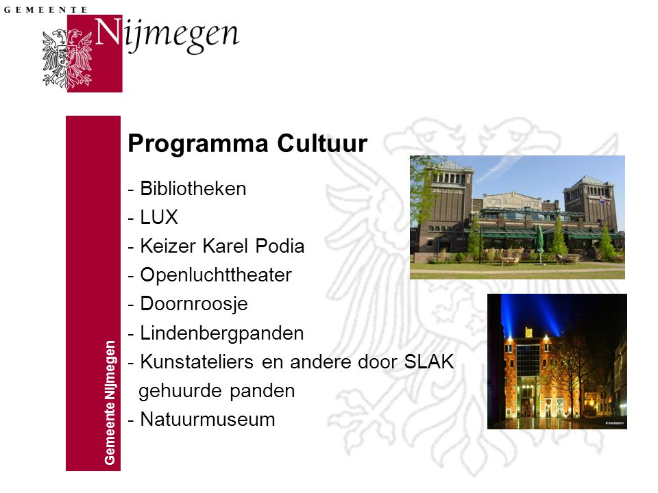 Programma Cultuur - Bibliotheken - LUX - Keizer Karel Podia